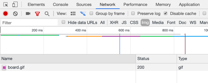 Chrome DevTools showing only gif downloaded