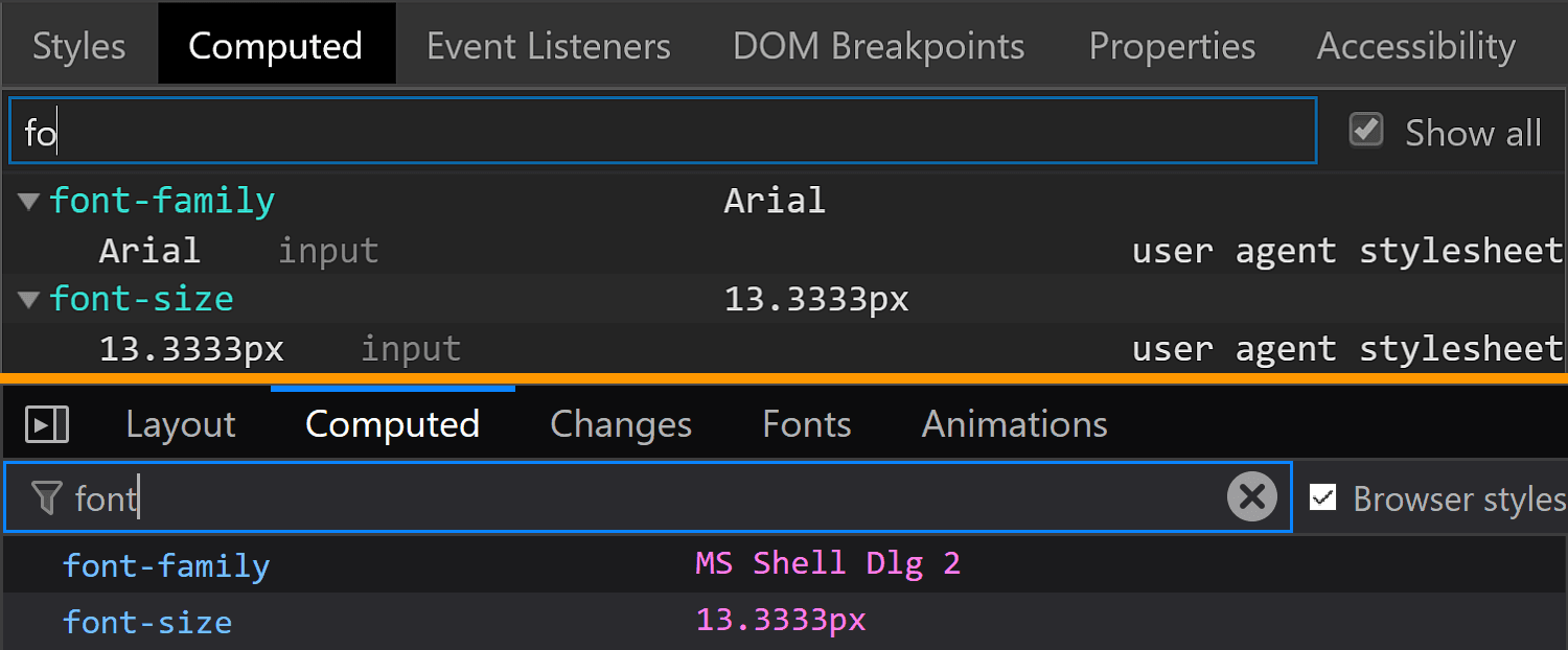 Comparative screenshots of DevTools in the two browsers showing the computed values of font-size for the swatch component.