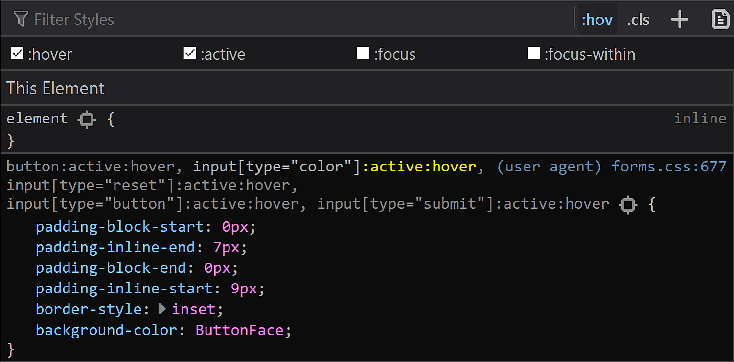 Screenshot of Firefox DevTools showing the rule set that shows up for the :active state.