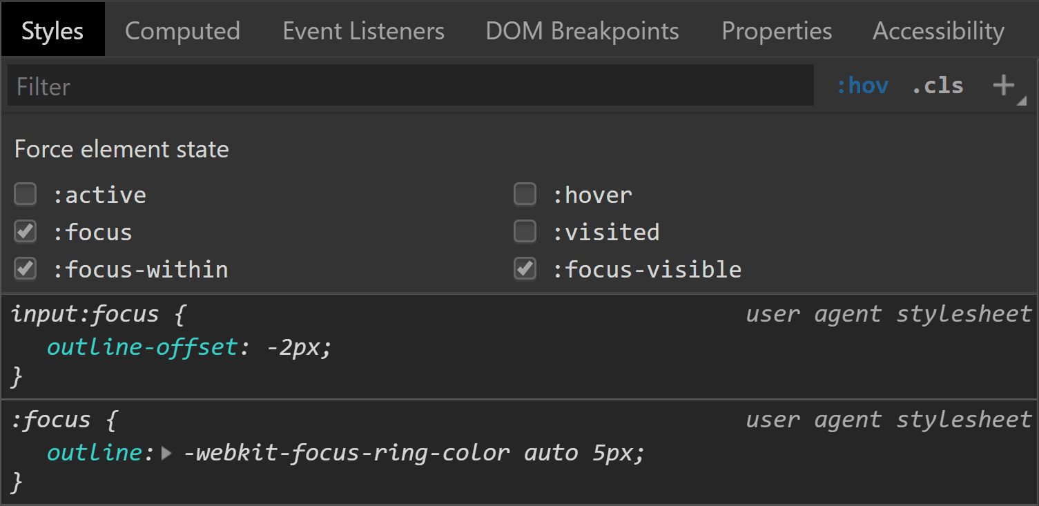Chrome DevTools screenshot showing an outline for an input having <code>:focus</code>.