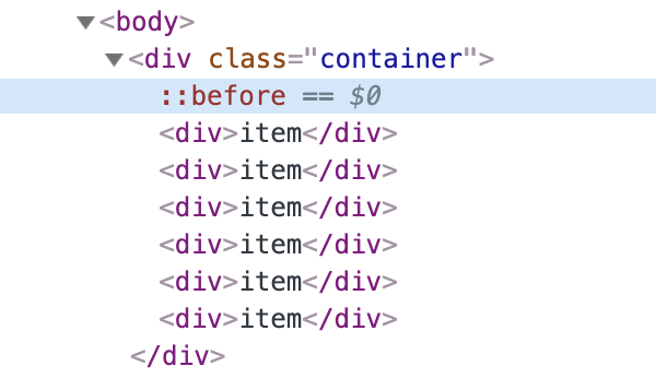 DevTools with a ::before element selected
