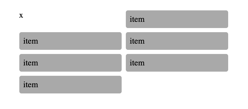 Six items in a two-by-two grid, but with a seventh item at the beginning, pushing elements over by one