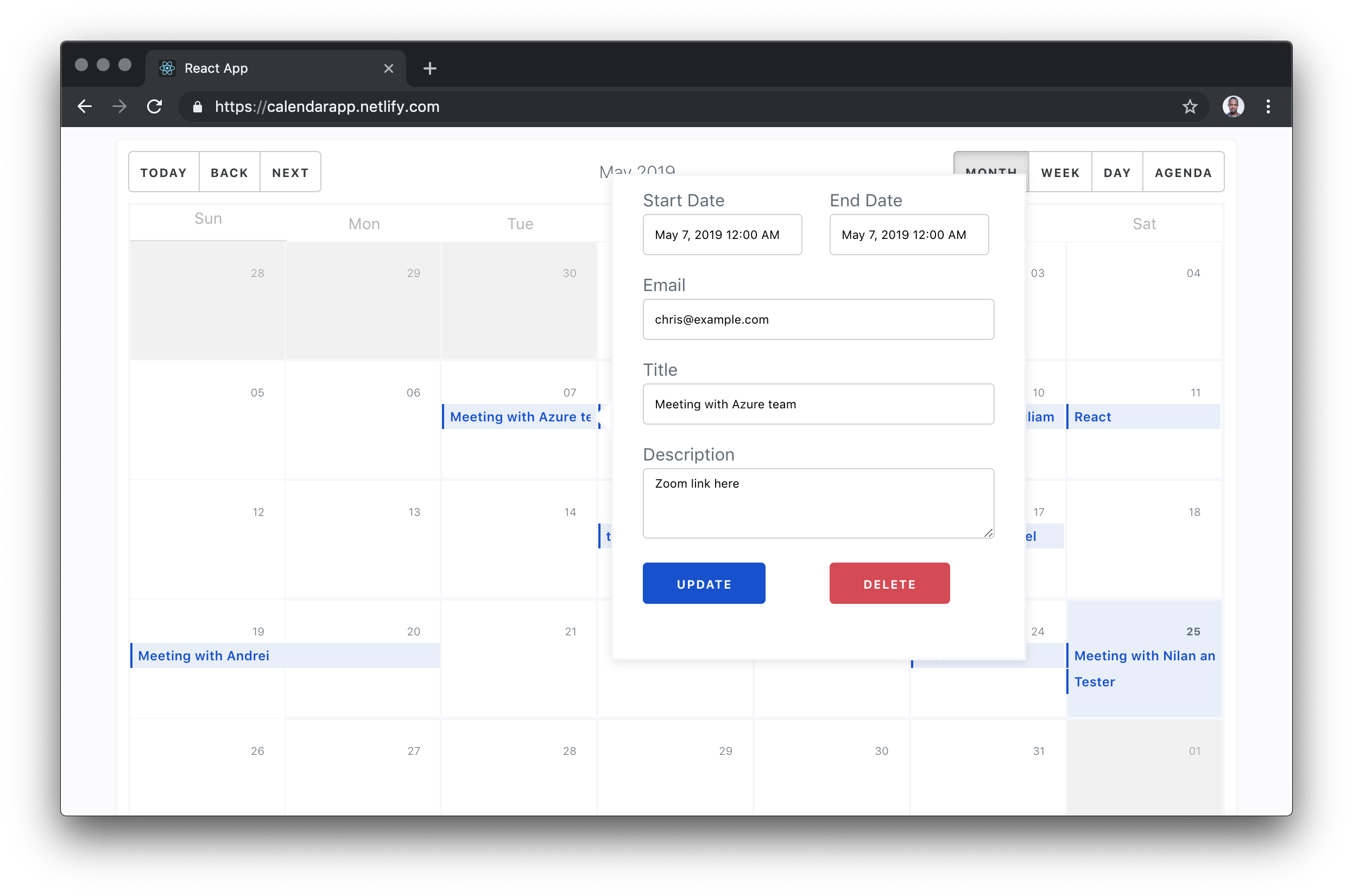 A calendar month view with a pop-up form for creating a new event as an overlay.