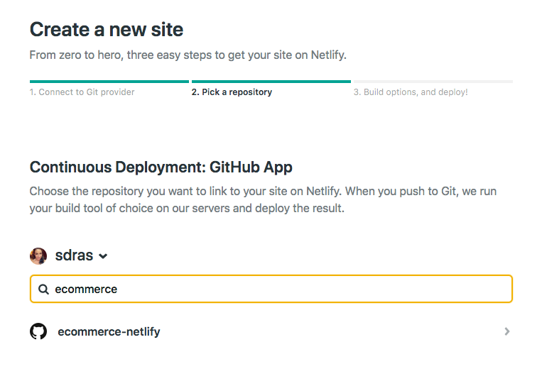 choose a repo in netlify