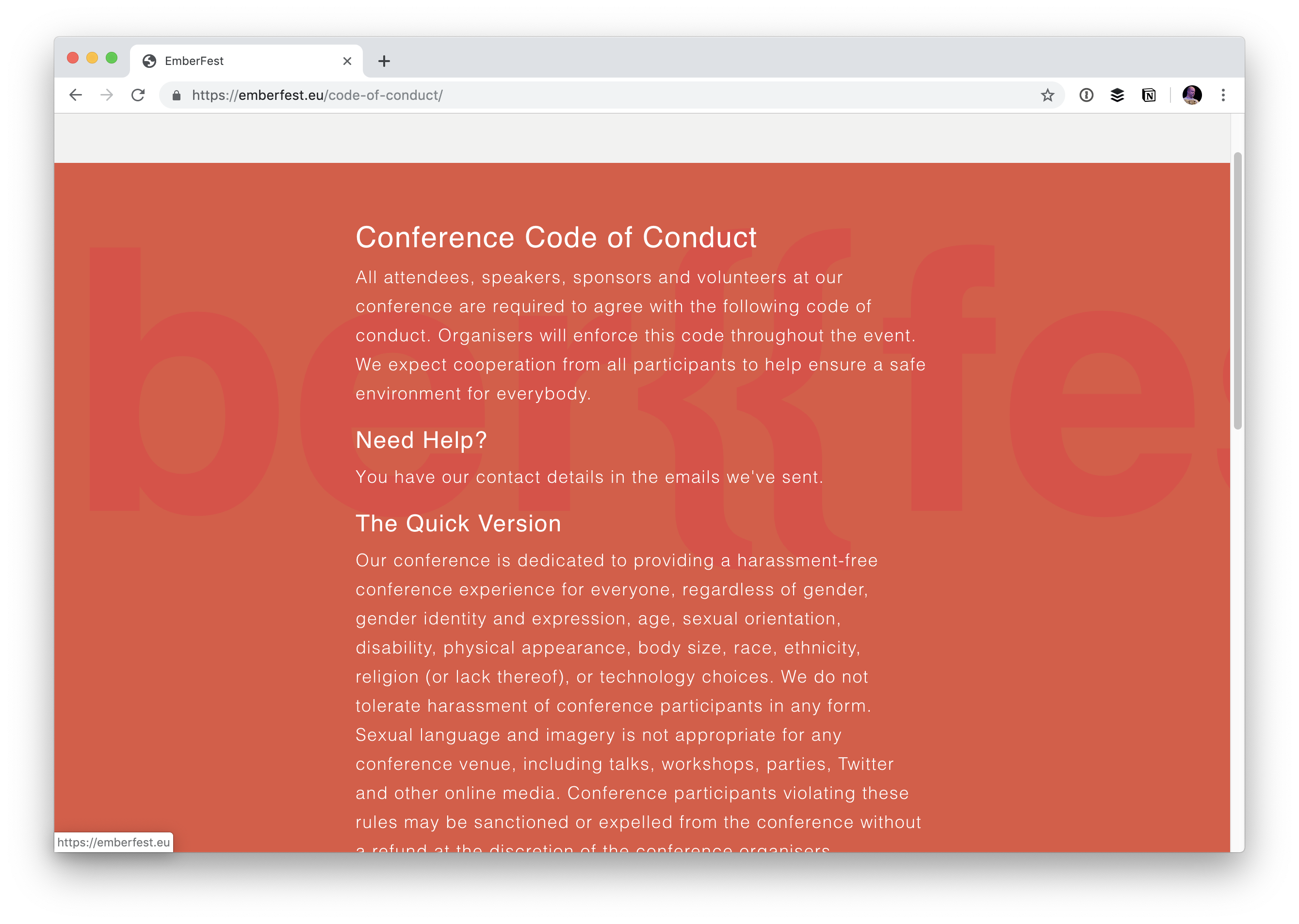 PSA: Linking to a Code of Conduct Template is Not the Same as Having a Code of Conduct