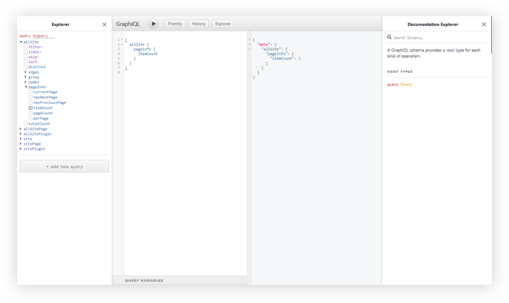 The GraphiQL interface. There are four panels from left to right showing the explorer, query variables and documentation.