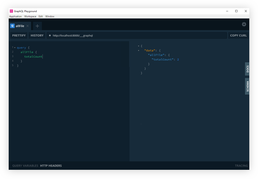 Screenshot of the GraphQL Playground interface. It has two panels showing the Gatsby GraphQL operations.