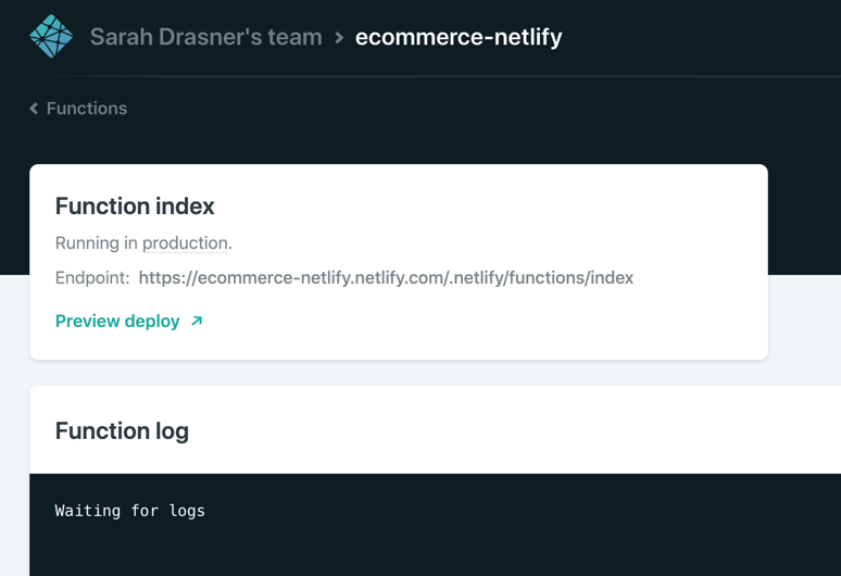 netlify function in the dashboard