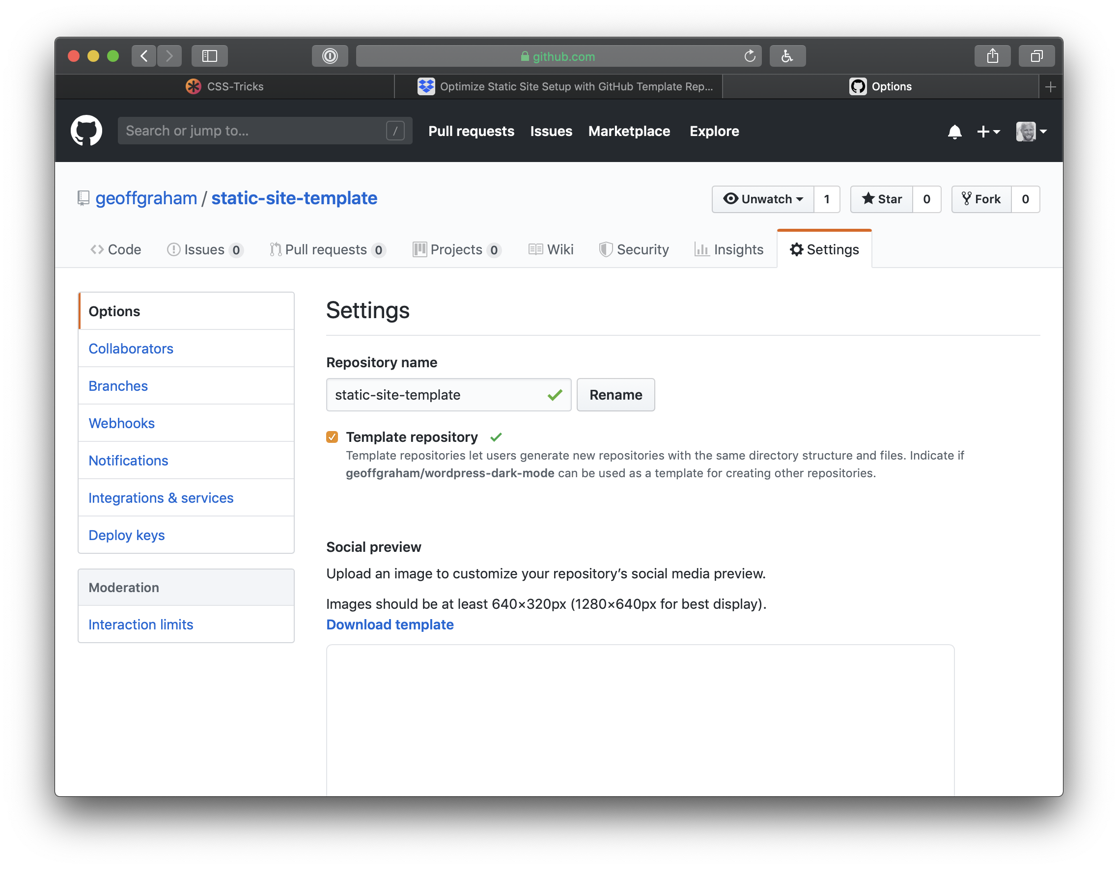 Using GitHub Template Repos to Jump-Start Static Site Projects
