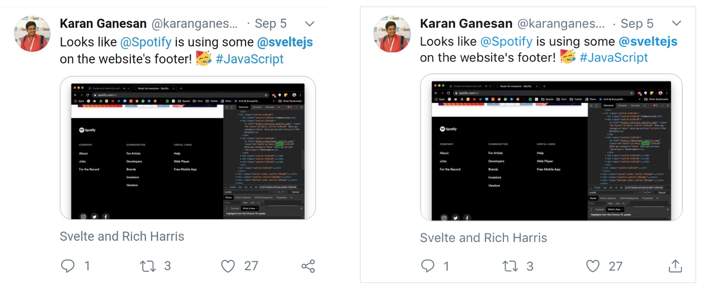 Showing the same tweet on both Android and iOS