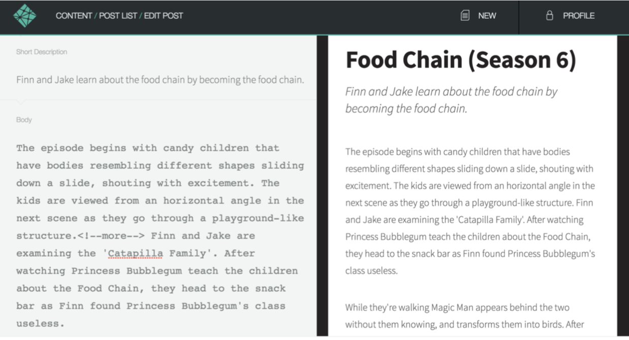 An editing screen in Netlify showing post fields on the left and a preview of the post on the right.