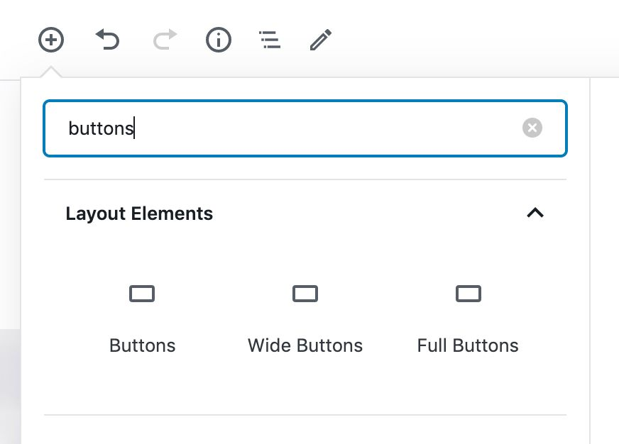 Showing the Wide and Full button variations in the WordPress Block Inserter.