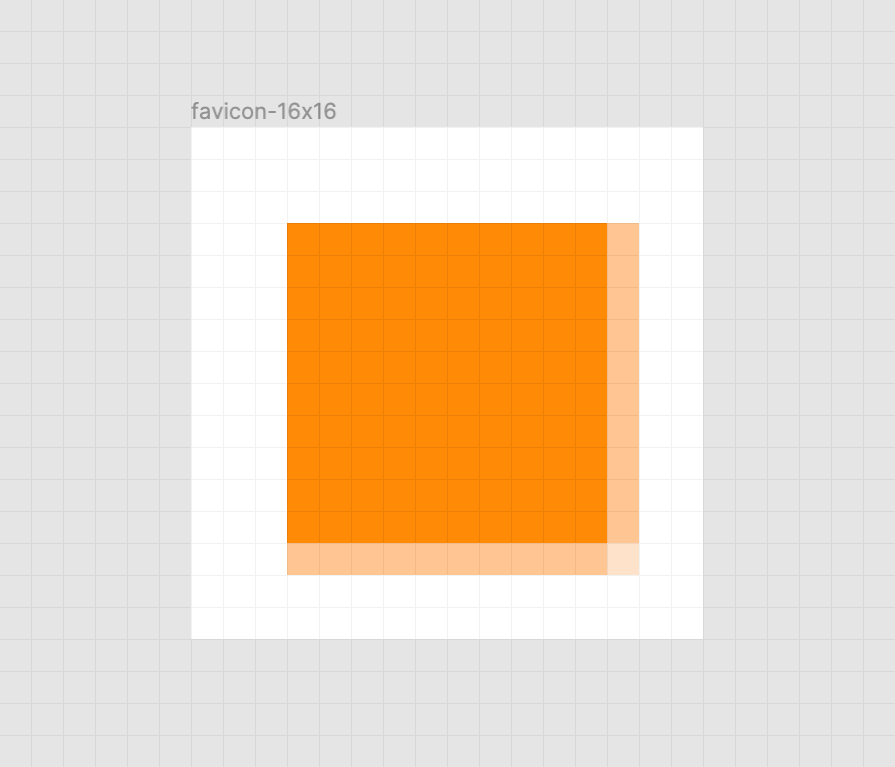 A blurred orange square on a white background. There is also a faint grid of gray horizontal and vertical lines that represent the pixel grid. Screenshot from Figma.