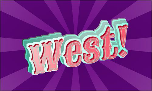 "The word ""West!"" rendered in a Wild West-style font, with layered teal drop shadows giving it a 3D effect. Behind it is a purple starburst pattern. Screenshot."