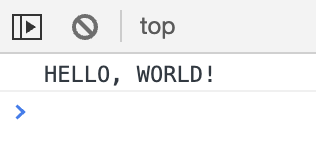 Console output showing Hello World.