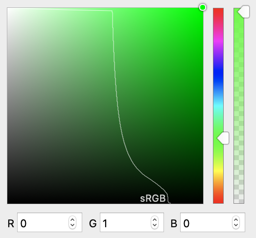 Screenshot of a color picker going from bright green to black with a light curved line signifying the point where colors go past the typical sRGB range.