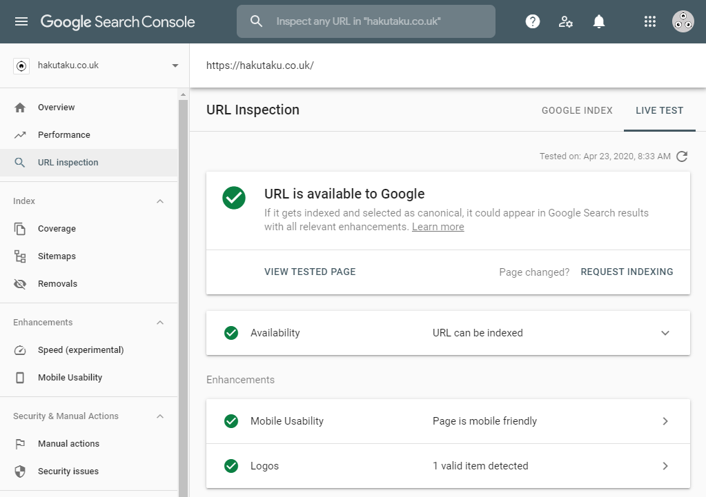 Google Search Console screenshot showing Google can find the site and that it recognizes search enhancements below that. In this case, it is showing that the Logo structured data type was found and is supported.