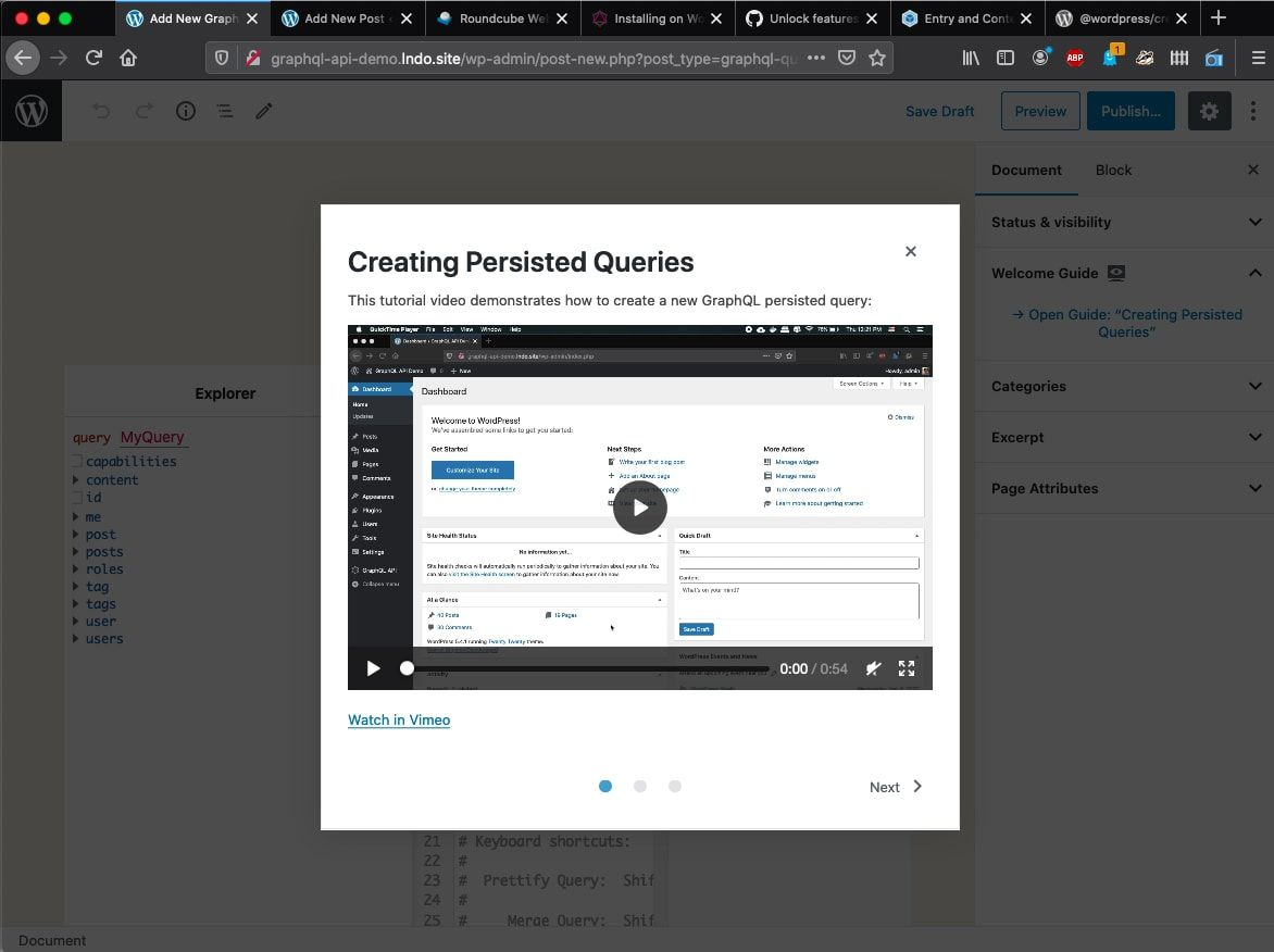 Screenshot showing the custom modal open in the block editor and containing an embedded video on how to use the plugin.