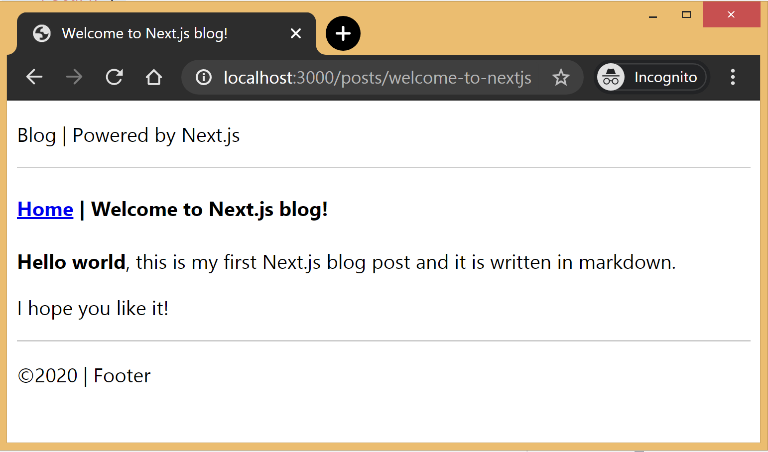 Screenshot of the blog page showing a welcome header and a hello world blue above the footer.