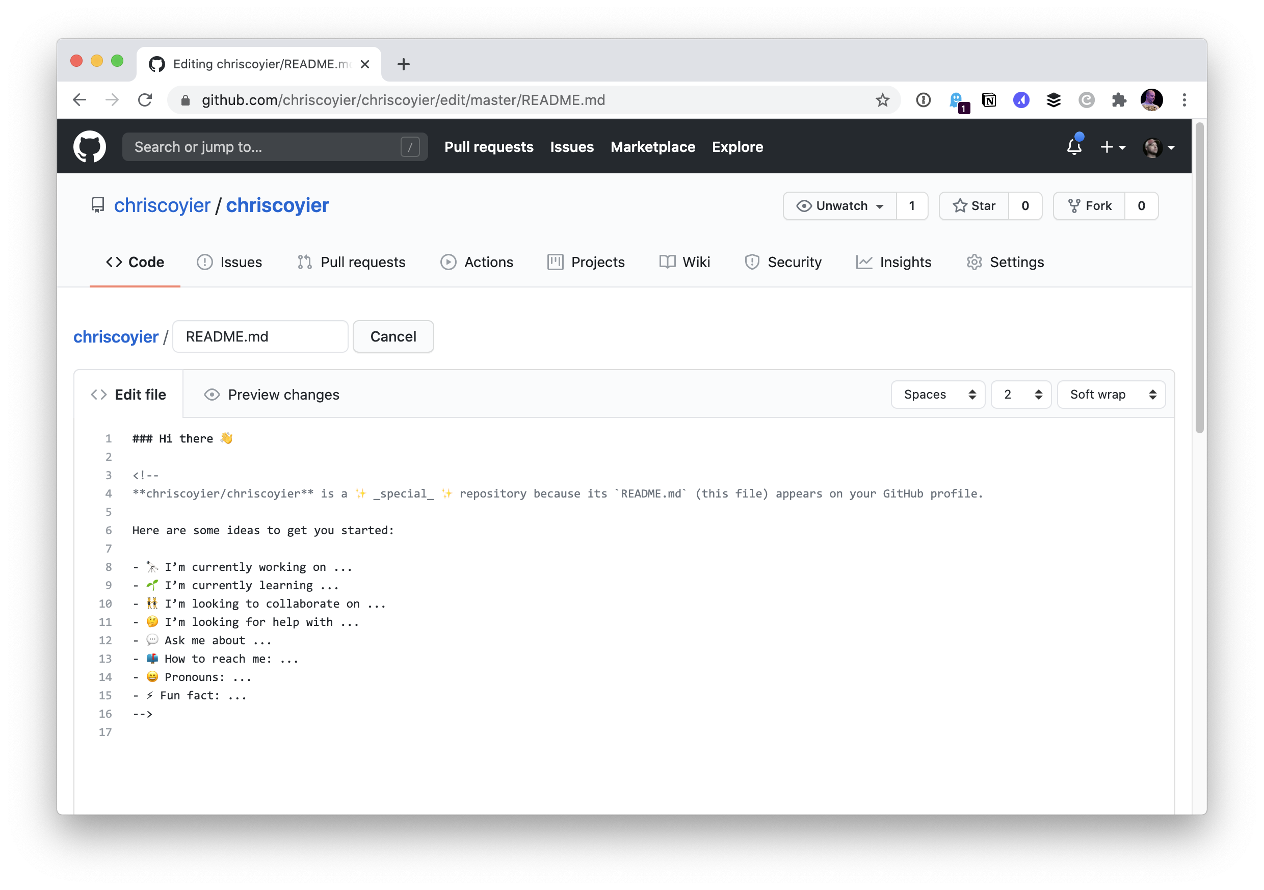Screenshot of editing the read me file directly in GitHub.