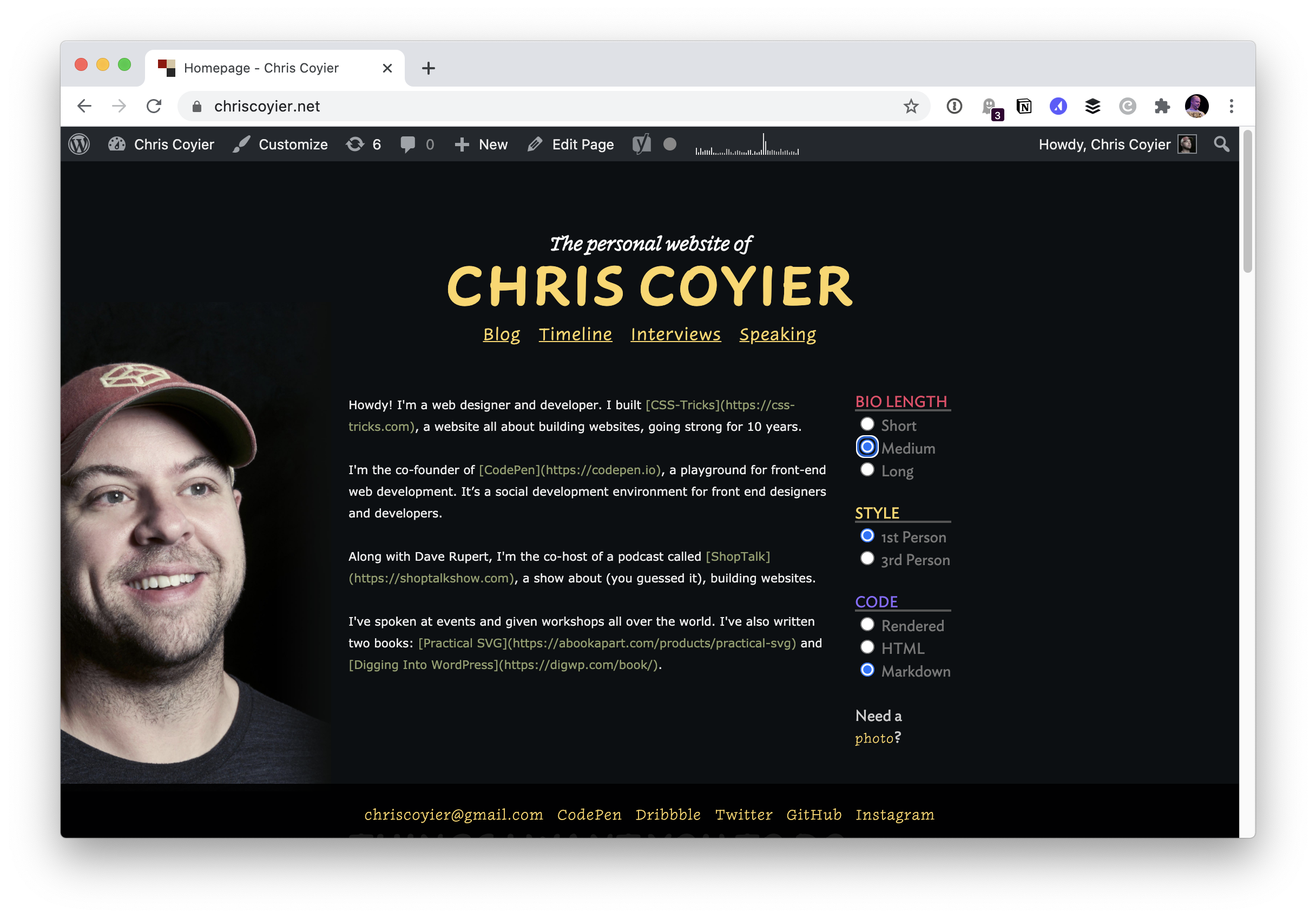 Screenshot of Chris Coyier's personal website homepage. It has a dark background and a large picture of Chris wearing a red CodePen hat next to some text welcoming people to the site.