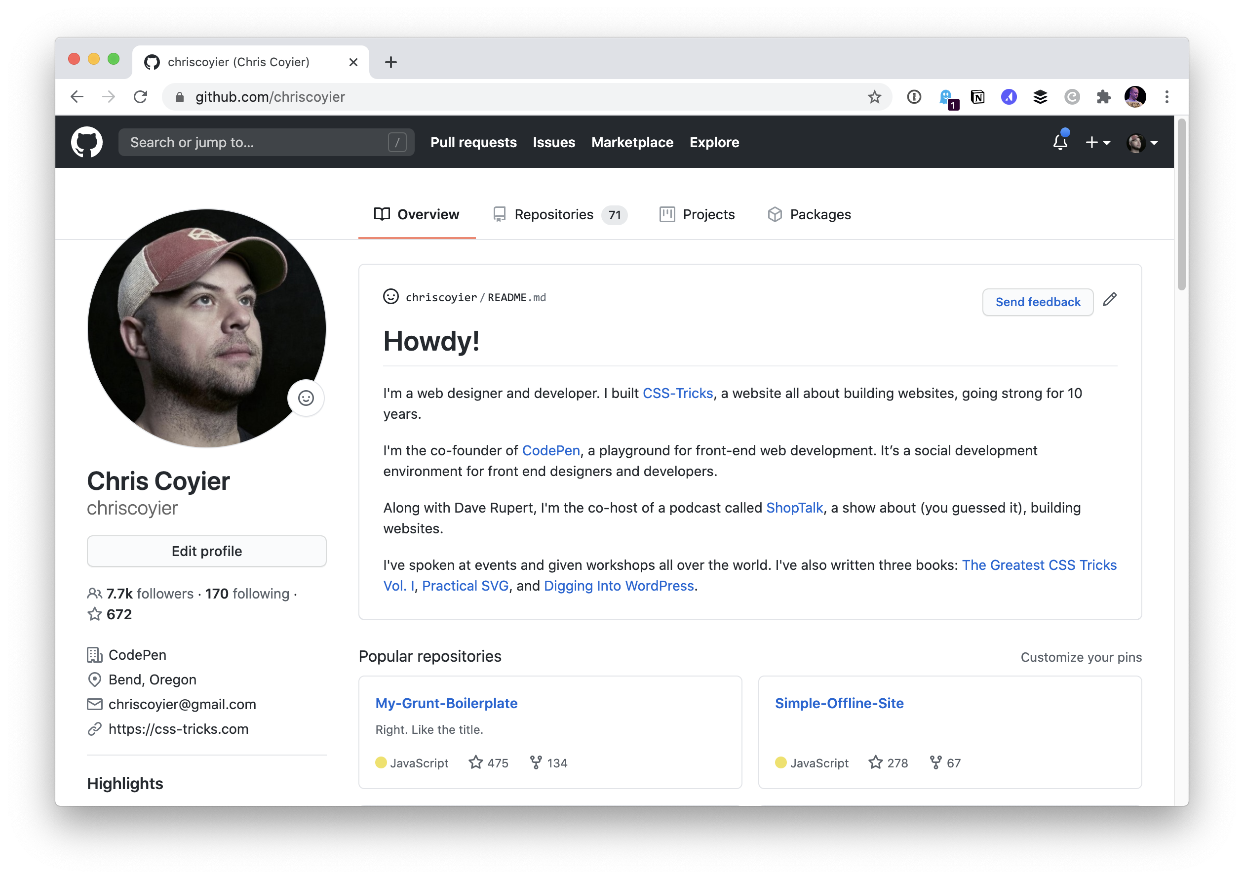 Screenshot of the updated GitHub profile page, showing the welcome text from the personal website homepage.