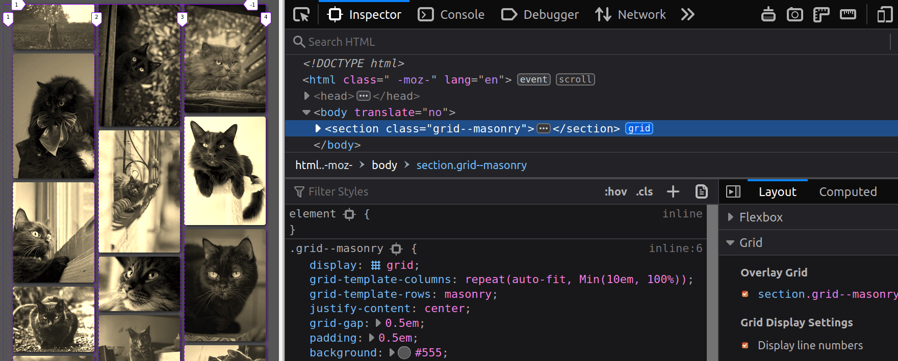 Screenshot showing the masonry result in Firefox alongside DevTools where we can see what's under the hood.