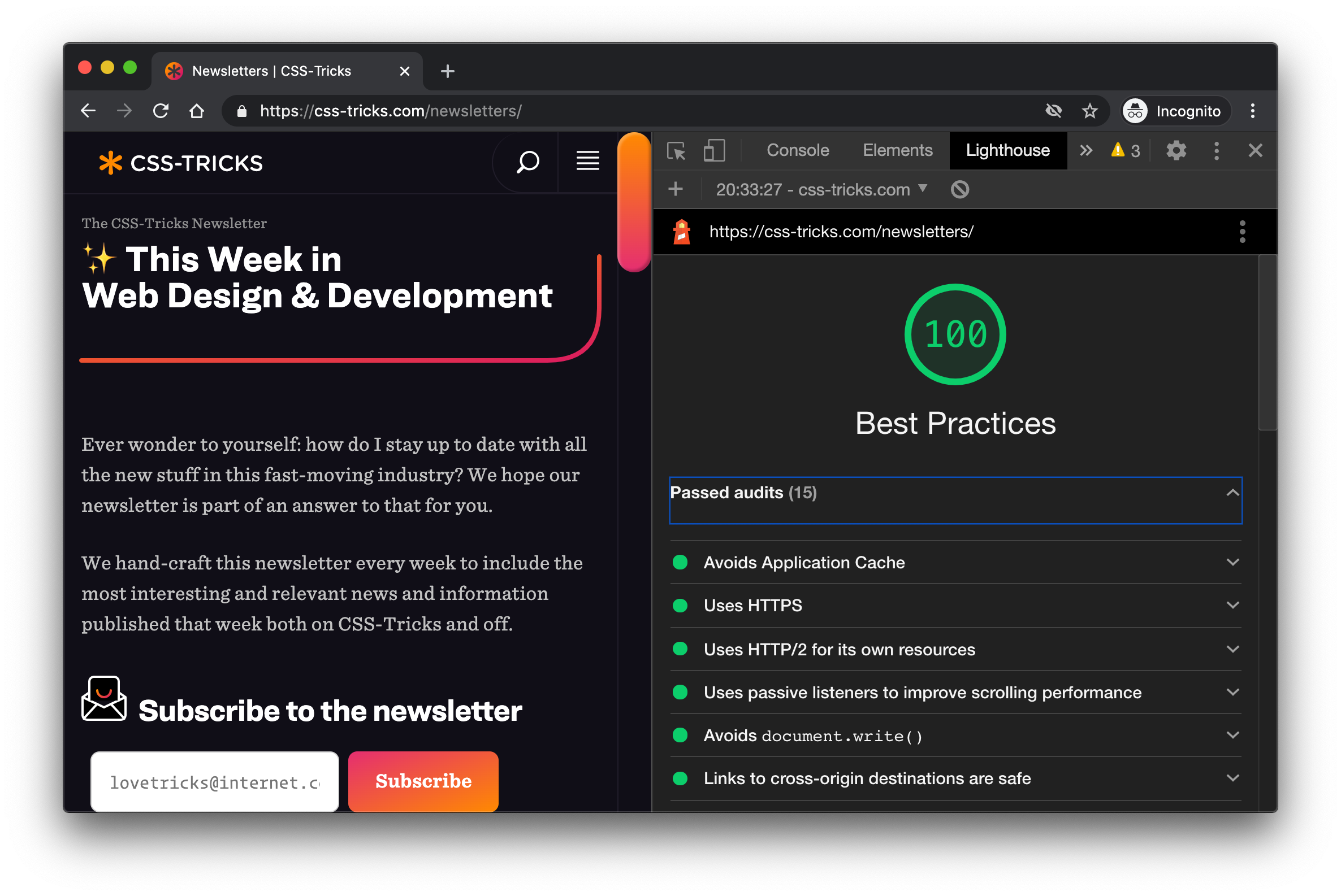 Screenshot of DevTools open on a CSS-Tricks page. The Lighthouse panel is open showing a best practices score of 100 out of 100.