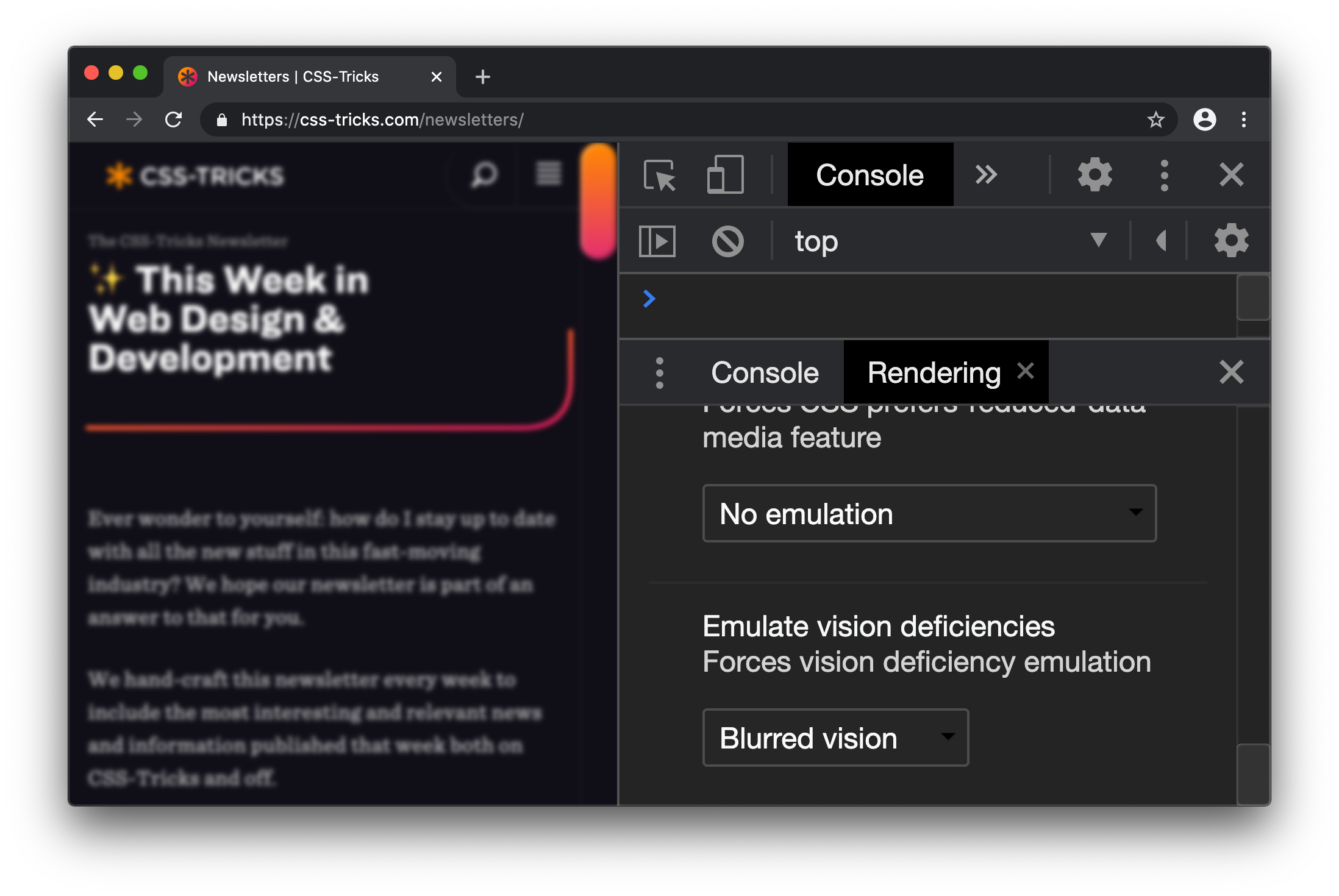 Screenshot of DevTools open on a CSS-Tricks page. The Rendering panel is open and the blurred vision option is selected. The CSS-Tricks page is blurry and difficult to read.