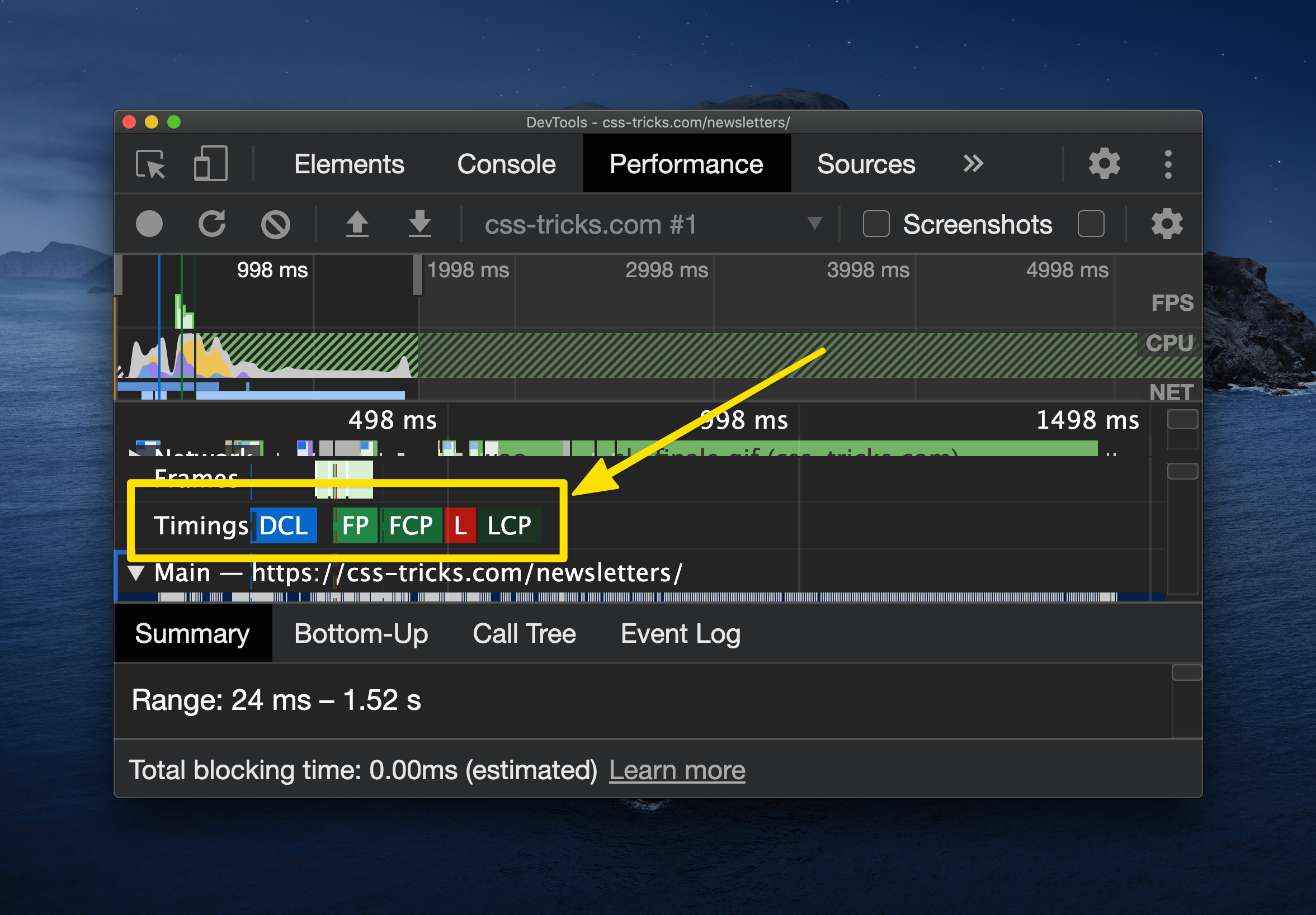 Screenshot of DevTools with the Performance panel open. A chart showing the timeline of page rendering is above a row of Timings, including DCL, FP, FCP, L, and LCP. Below that is a summary that provides a time range for the selected timing.