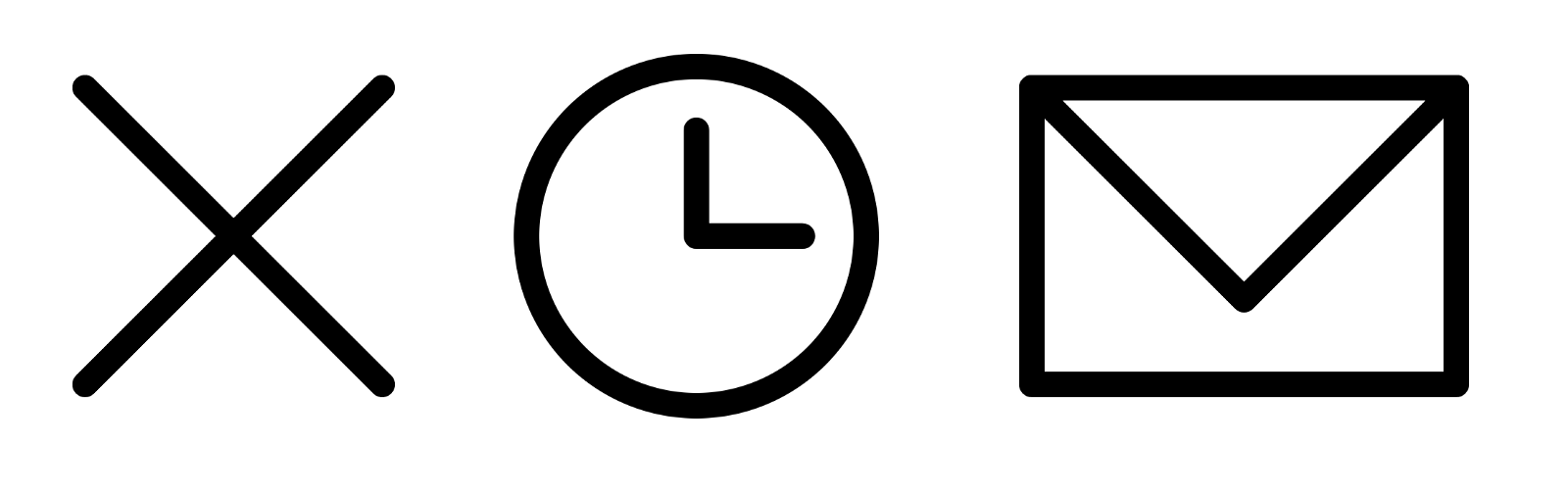 Showing an close icon in the shape of an x, a clock with the hands pointing at 3 o-clock, and a closed envelope.