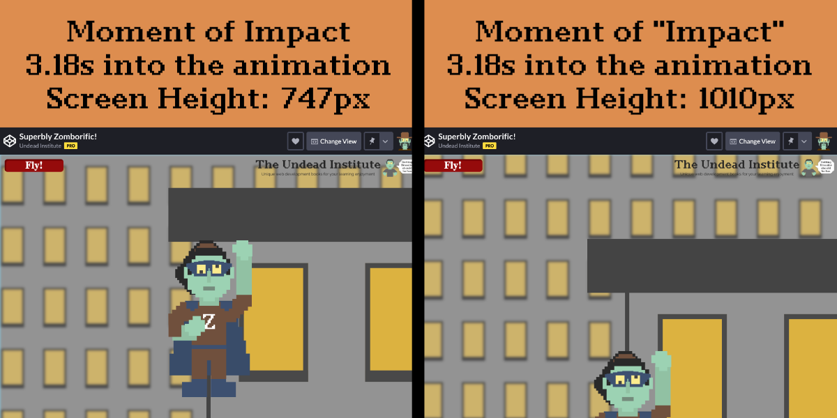 Two animation frames, side by side where the left shows the flying green zombie hitting a building ceiling and the right shows the zombie leaving the frame after impact.