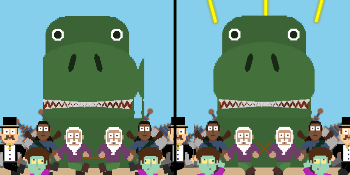 A large green dinosaur behind a crowd of people, all facing and looking forward.