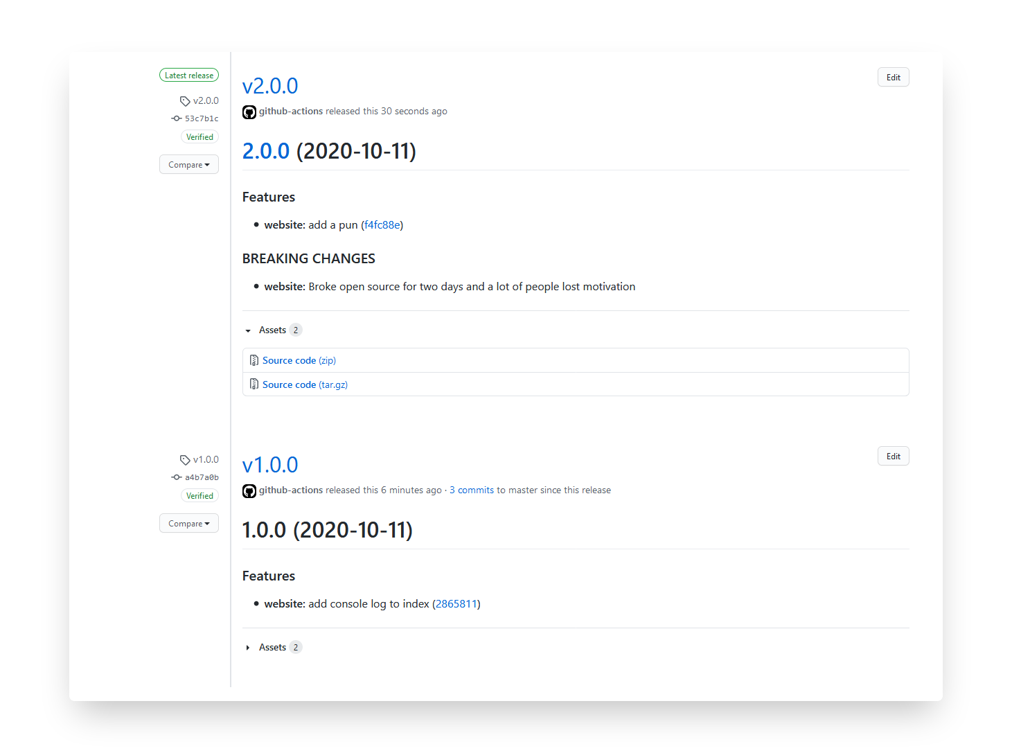 Showing the GitHub releases screen for a project with an example that shows a version 1.0.0 and 2.0.0, both with release notes outlining features and breaking changes.