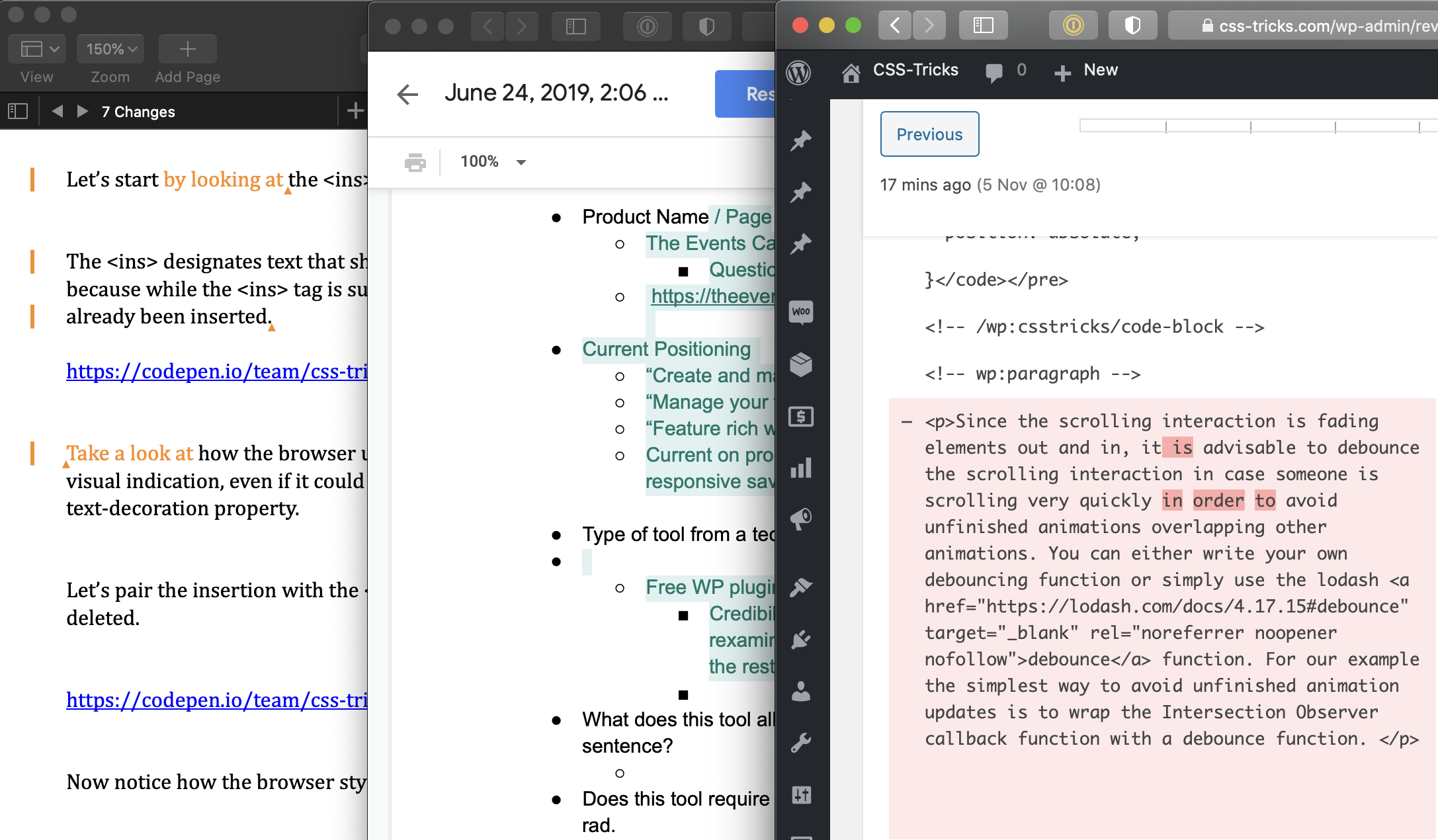 Side-by-side screenshots of how Pages, Google Docs and WordPress display tracked changes.
