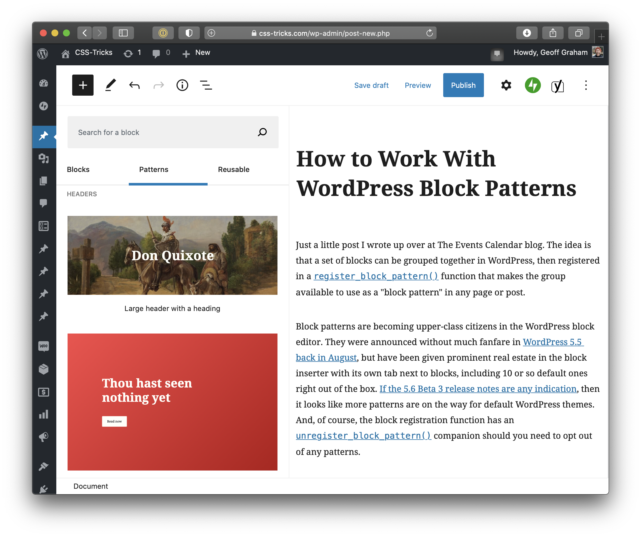 Full page screenshot of the WordPress post editor. On the right is the post content, which includes a large bold title in black above two paragraphs. On the left is the block inserter expanded with the Patterns tab active and displaying two options for header patterns.