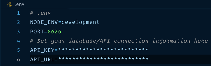 Example of a dot env file showing variables for a node environment, port, API key and API URL.