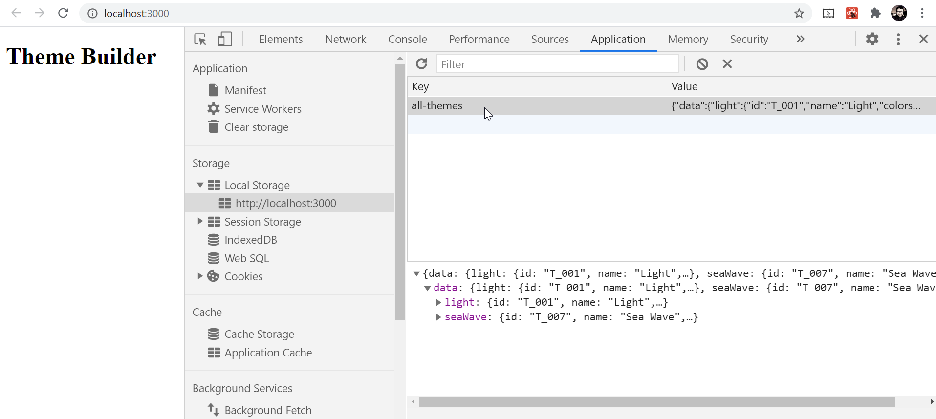 The theme with DevTools open and showing the theme properties in the console.