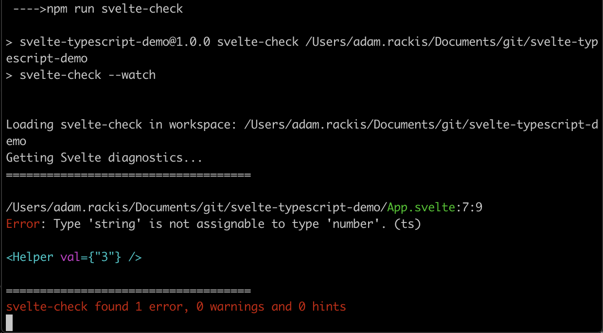 Showing the terminal with a caught error.