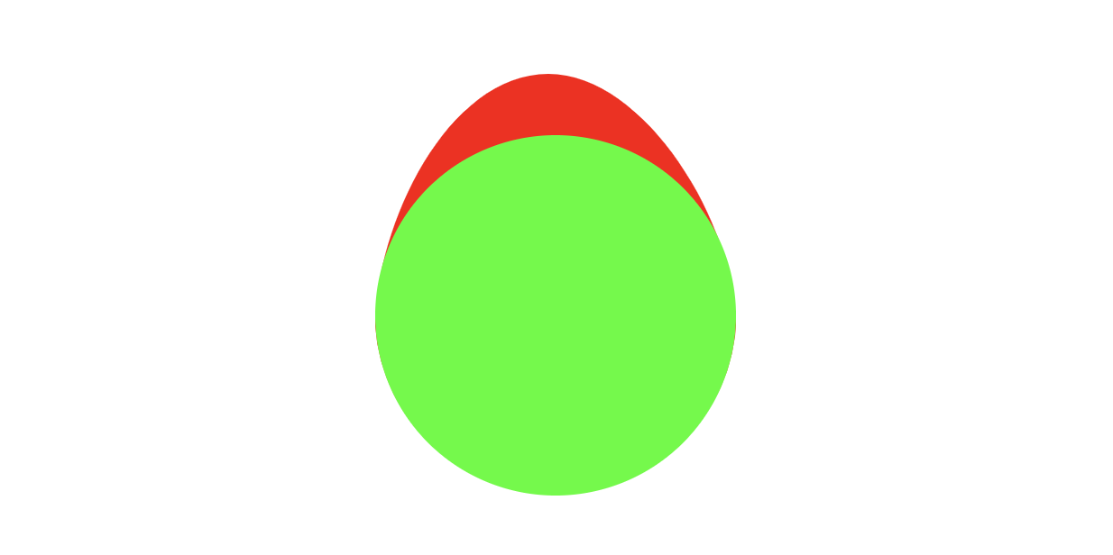 A bright green circle with a bright red shape coming out from the top of it, as if another shape is behind the green circle.