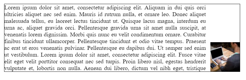 A paragraph of lorem i-sum text with a small square image to the right of the text. The image is located at the bottom right of the text and the space above the image is empty.