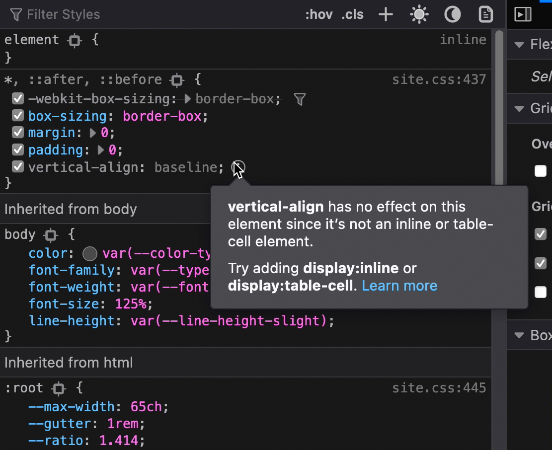 "Tooltip attached to an unused selector in the Developer panel. The tooltip reads, ""vertical-align has no effect on this element since it's not an inline or table-cell element. Try adding display: inline or display: table-cell. Learn more. Screenshot."""